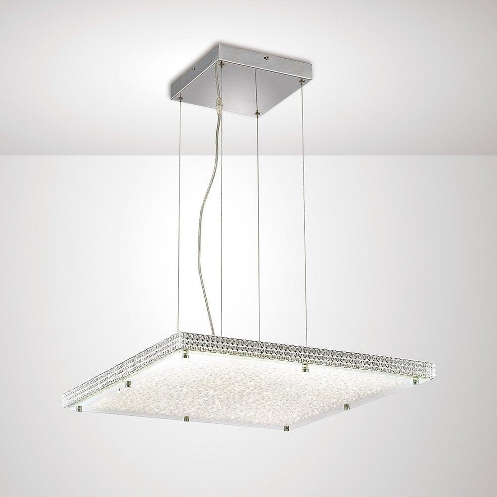 timeless design 90dd2 706d5 Amelia Crystal LED Square Ceiling Pendant Light In Chrome Finish IL80073