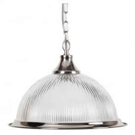 American Diner Single Ceiling Pendant Light in Silver with clear Glass