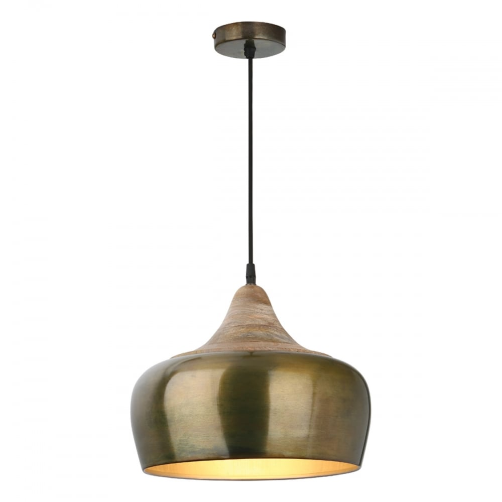 Amiel modern ceiling pendant light in aged gold with wood cowl ami0135