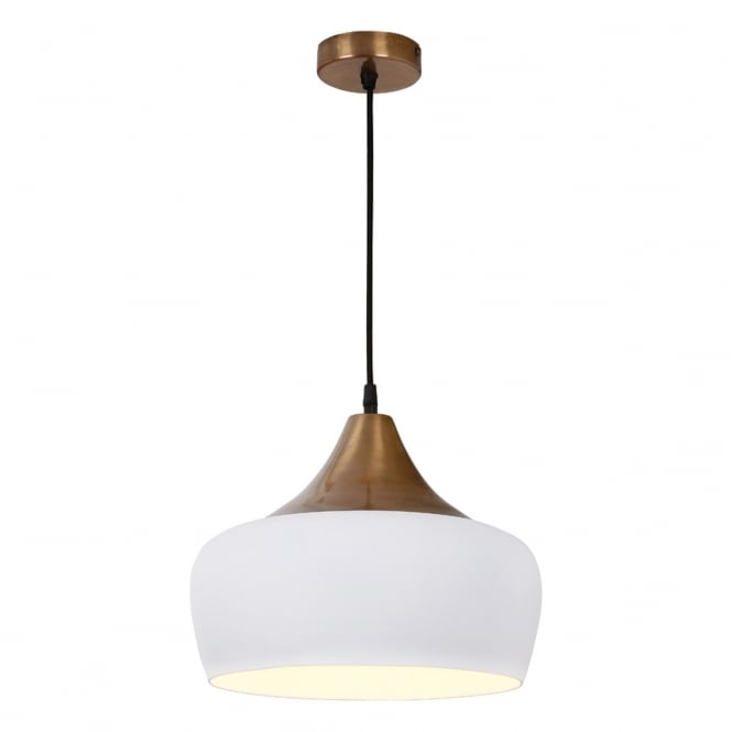 Dar Lighting Amiel Modern Ceiling Pendant Light In White With Antique Brass Finish AMI012