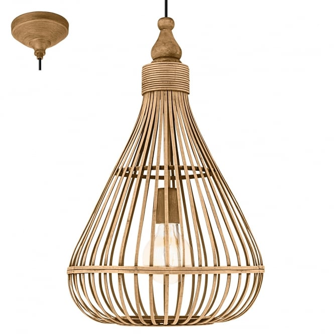 Eglo Lighting Amsfield Contemporary Brown Wooden Dome Shaped Ceiling Pendant 49772
