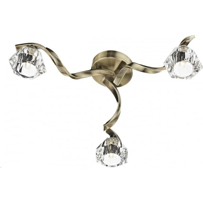 Dar Lighting Ancona 3 Light Antique Brass Crystal flush Ceiling Light ANC5375