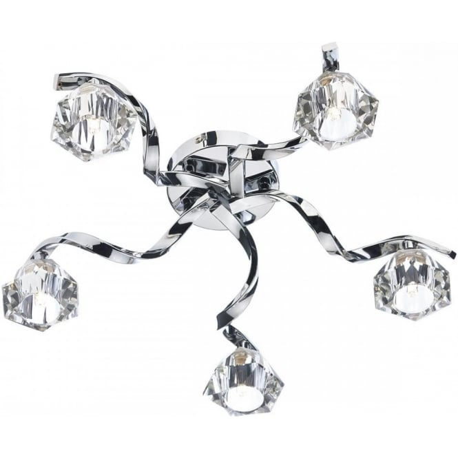 Dar Lighting Ancona 5 Light Crystal Glass Ceiling Flush ANC5450