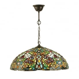 Anderson Traditional Tiffany Large Ceiling Pendent With Detailed Art Glass Shade 63902