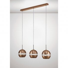 Andrea 3 Light Ceiling Bar Pendant In Satin Copper Finish With Crystals IL31611