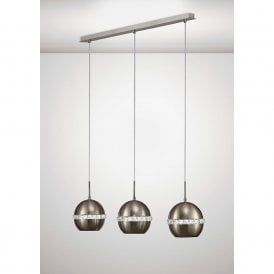 Andrea 3 Light Ceiling Bar Pendant In Satin Nickel Finish With Crystals IL31613