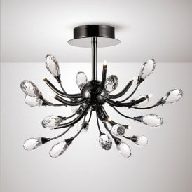 Anita Modern 9 Light Semi Flush Ceiling Light In Black Chrome Finish IL31635