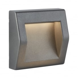 Ankle Outdoor Square Recessed Wall Light In Grey Finish IP54 0232GY
