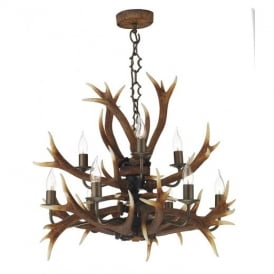 ANT1329 Antler Decorative 9 Light Tiered Pendant in Rustic Finish