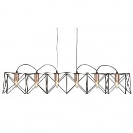 Anthea Modern 6 Light Bar Ceiling Pendant In Black And Copper Finish 8416-6BK