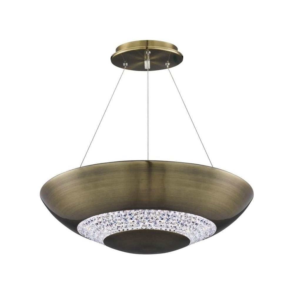 Led Ceiling Lights Brass : Searchlight antique brass and crystal glass buttons led