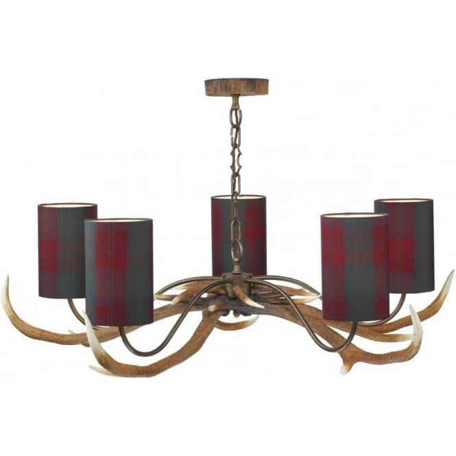 David Hunt Lighting Antler 5 Light Pendant with Tartan Shades ANT0599T