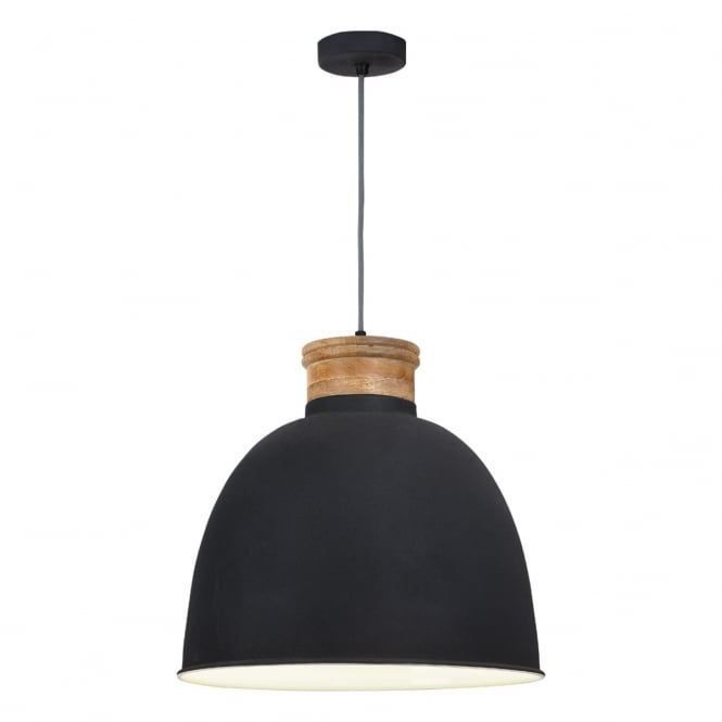 Dar Lighting Aphra Unique Ceiling Pendant Light In Black Finish With Wooden Detail APH0139