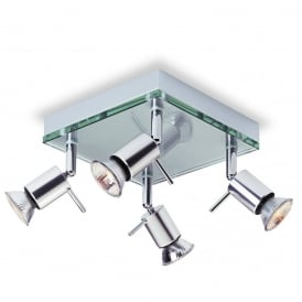 Aqua Contemporary Ceiling Spotlight In Aluminium Finish With Clear Glass 5514