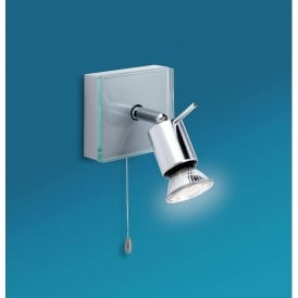 Aqua Contemporary Single Wall Spotlight In Aluminium Finish With Clear Glass 5512