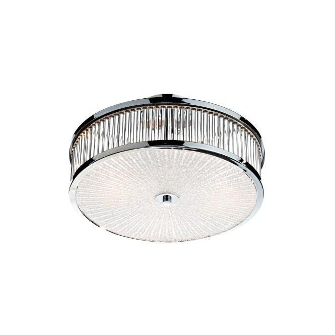 Dar Lighting ARA5250 Aramis 3 Light Polished Chrome and Glass Flush Light