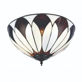 Aragon Subtle Tiffany Flush Ceiling Light With Cream And Bronze Glass 74342