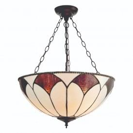 Aragon Subtle Tiffany Large Inverted Ceiling Pendant With Cream And Bronze Glass 74341