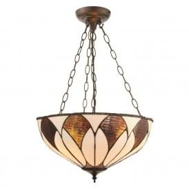 Aragon Subtle Tiffany Medium Inverted Ceiling Pendant With Cream And Bronze Glass 74339