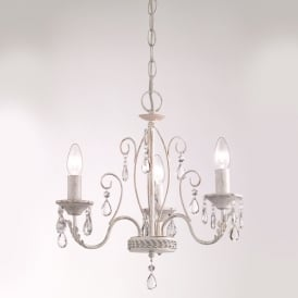 Aria 3 Light Ceiling Pendant Fitting In White Finish With Crystals FL2355/3