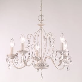 Aria 5 Light Ceiling Pendant Fitting In White Finish With Crystals FL2355/5