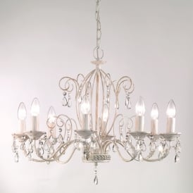 Aria 8 Light Ceiling Pendant In White Ironwork With Gold Hightlights And Crystals