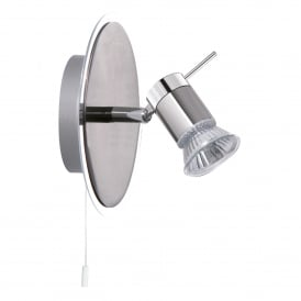Aries Bathroom Single Wall Light Spotlight In Chrome And Satin Silver Finish 7441CC-LED