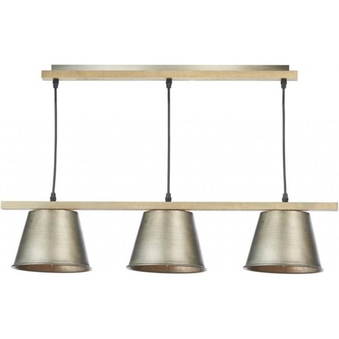 Dar Lighting Arken 3 Light Grey And Wood Pendant Bar Ceiling Light ARK0348