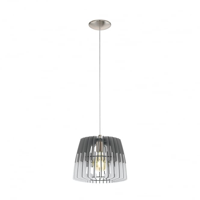 Eglo Lighting Artana Contemporary 30 cm Ceiling Pendant Light With Grey And White Wooden Shade 32824