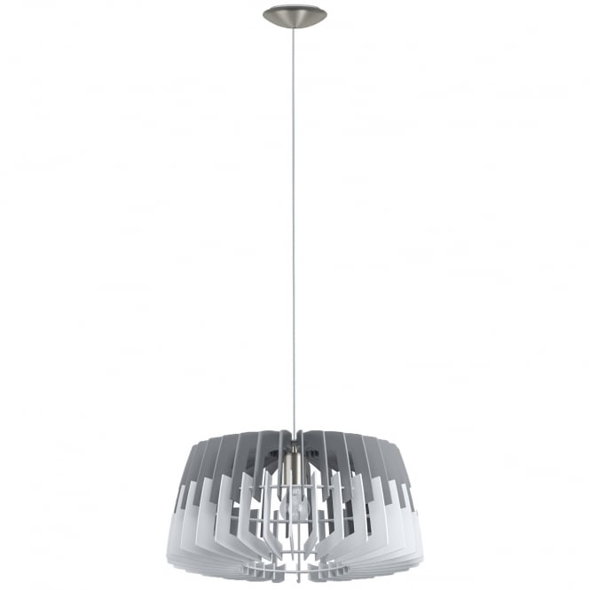 Eglo Lighting Artana Contemporary 48 cm Ceiling Pendant Light With Gray And White Wooden Shade 32826