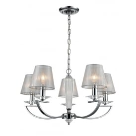 Artemis 5 Light Ceiling Pendant In Chrome Finish With Silver Glass Shades FL2241/5/1170
