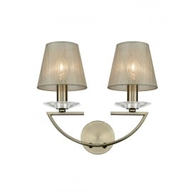 Artemis Twin Wall Light In Bronze Finish With Gold Glass Shades FL2242/2/1171