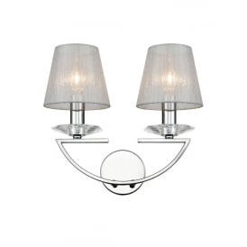 Artemis Twin Wall Light In Chrome Finish With Silver Glass Shades FL2241/2/1170