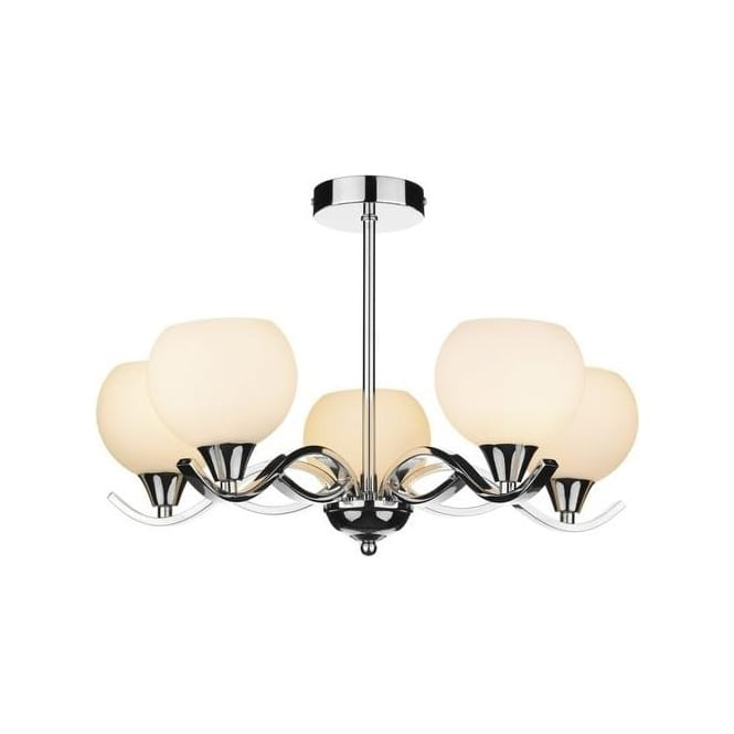 Dar Lighting ARU0550 Aruba 5 Light Chrome And Opal Glass Semi-Flush
