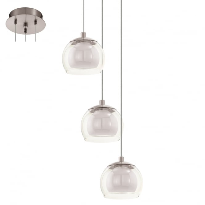 Eglo Lighting Ascolese Stylish LED Multi Drop Ceiling Pendant Light In Satin Nickel Finish 94318