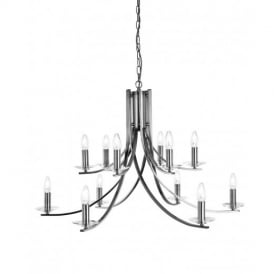 Ascona Classic 12 Light Chandelier in Satin Silver Finish 41612-12SS