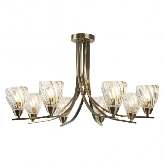 Searchlight Ascona II 8 Light Semi Flush Ceiling Light In Antique Brass Finish 4278-8AB