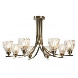 Hall and landing searchlight semi flush ceiling lights ascona ii 8 light semi flush ceiling light in antique brass finish 4278 8ab mozeypictures Gallery