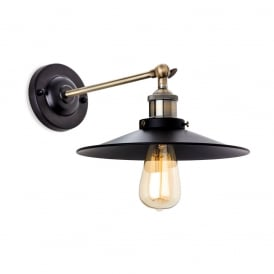 Ashby Industrial Wall Light In Black And Antique Brass Finish 5933