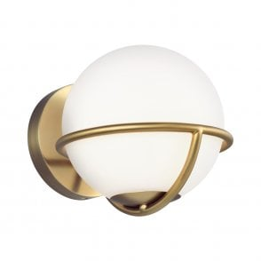 Feiss The Collection Asher Globe Wall Light In Polished Nickel Finish With Opal Etched Glass Fe Apollo1 Pn Lighting From The Home Lighting Centre Uk