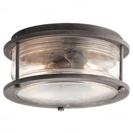 Ashland Bay Outdoor Ceiling Flush Light In Weathered Zinc Finish KL/ASHLANDBAY/F