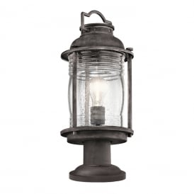 Ashland Bay Pedestal Lantern In Weathered Zinc Finish KL/ASHLANDBAY3/M