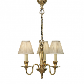 Asquith 3 Light Ceiling Pendant In Brass Finish With Beige Shades 63795