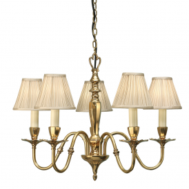 Asquith 5 Light Ceiling Pendant In Brass Finish With Beige Shades 63794