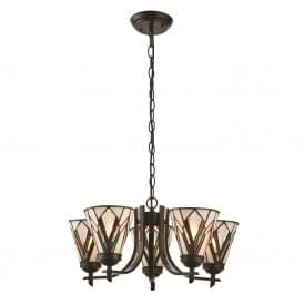 Astoria Tiffany Ceiling Pendant Light With Bevelled And Textured Cream Glass 74347