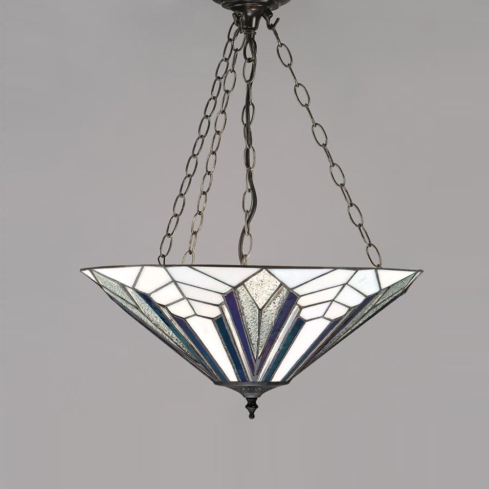 Astoria tiffany large inverted ceiling pendant light in art deco style 63936