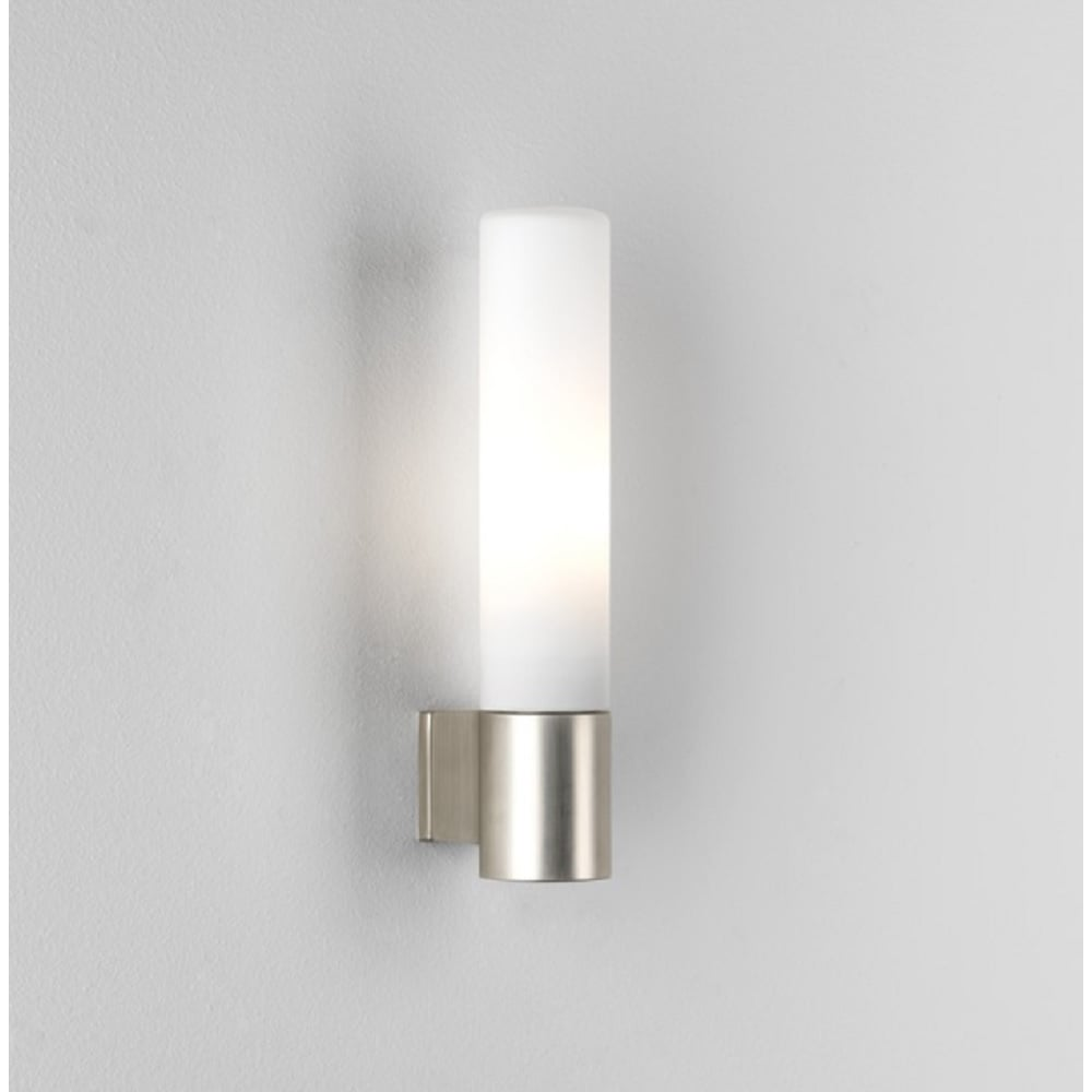 Astro Lighting Bari Bathroom Wall Light In Matt Nickel Finish With - Bathroom wall sconce with shade