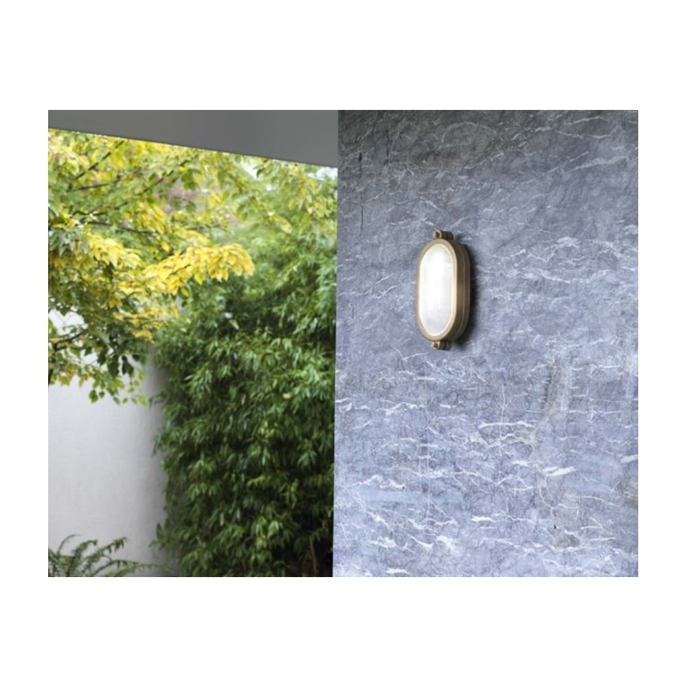 Malibu outdoor oval flush fitting in antique brass finish ip65 7970