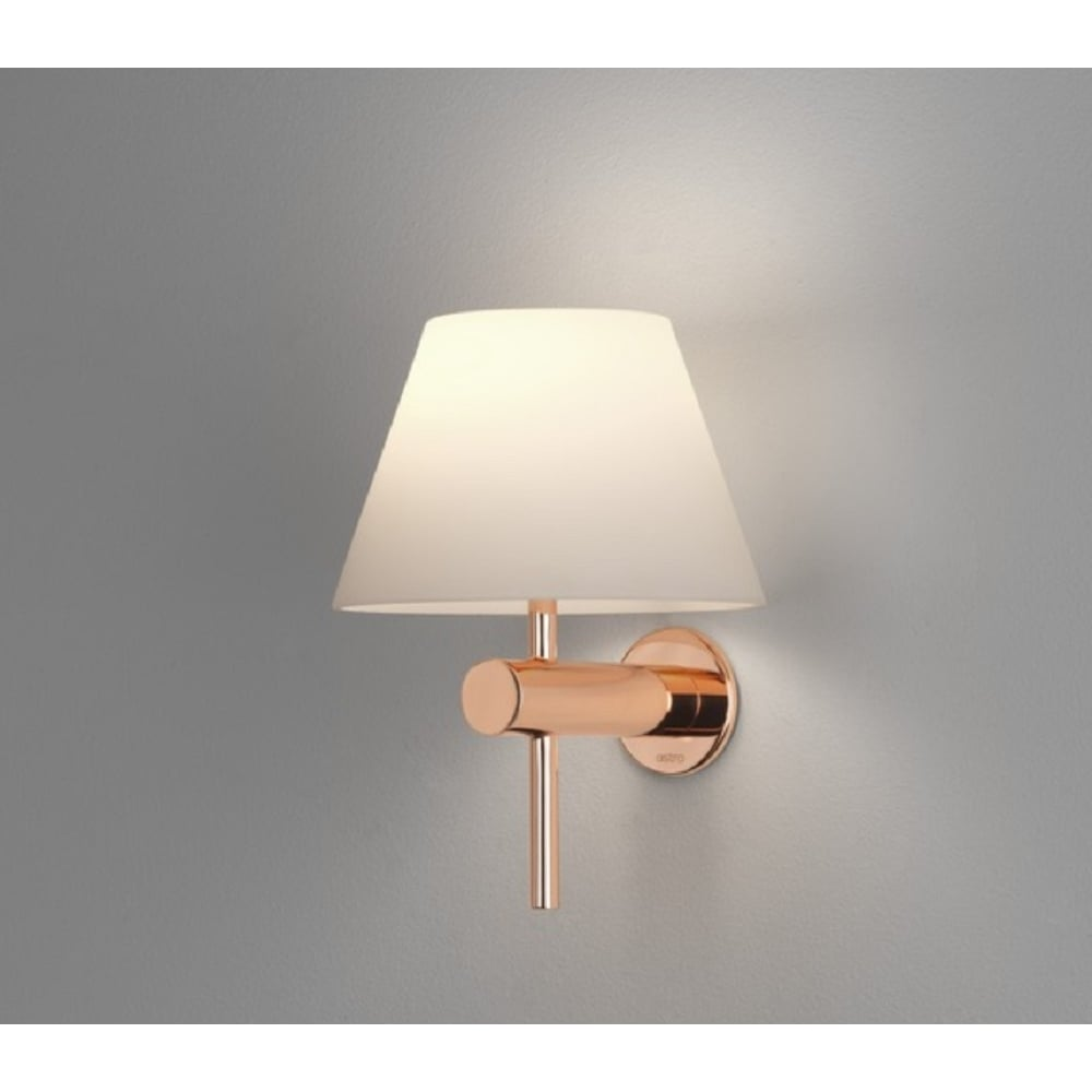 Astro lighting roma modern wall light in polished copper finish with roma modern wall light in polished copper finish with white shade ip44 8056 aloadofball Image collections