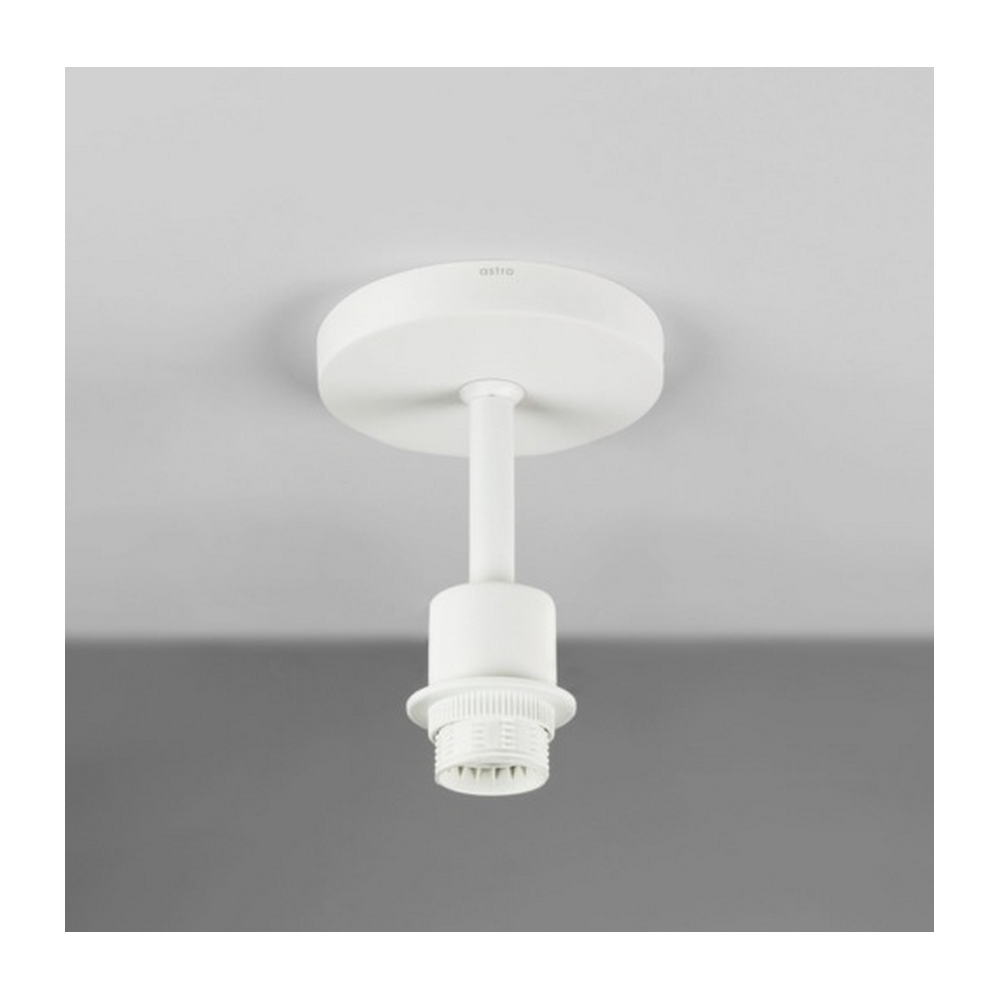 semi flush ceiling light in white with white shade